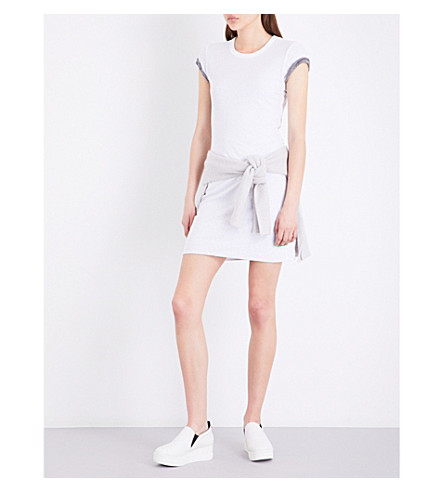 JAMES PERSE Short-sleeved cotton dress (White+heather+charcoal