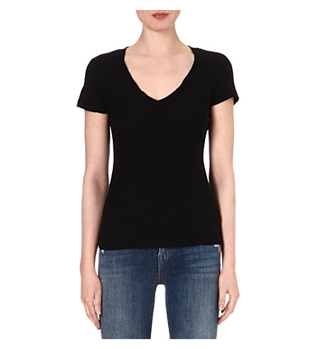 JAMES PERSE V-neck cotton-jersey T-shirt (Black