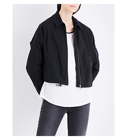 JAMES PERSE Batwing stretch-cotton bomber jacket (Black