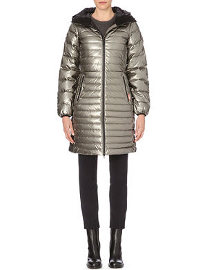 HUNTER Hooded long quilted jacket