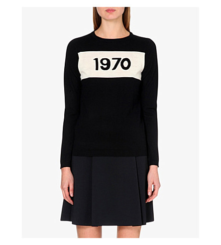BELLA FREUD 1970 merino wool jumper (Black+ivory