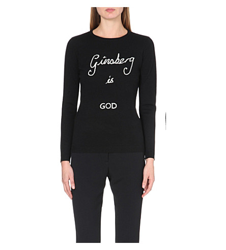 BELLA FREUD Ginsberg is God merino wool jumper (Black+ivory