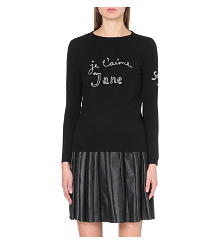 BELLA FREUD Je t'aime Jane merino wool jumper (Black+ivory