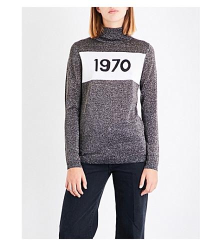 BELLA FREUD 1970 metallic knitted turtleneck jumper (Black/silver