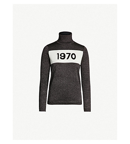 BELLA FREUD 1970 metallic wool-blend turtleneck sweater (Black