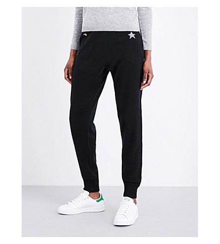 BELLA FREUD Star-embroidered cashmere-blend jogging bottoms (Black