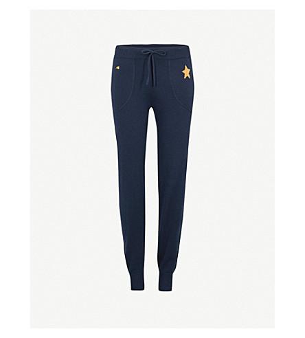 BELLA FREUD Star-embroidered cashmere-blend jogging bottoms (Navy