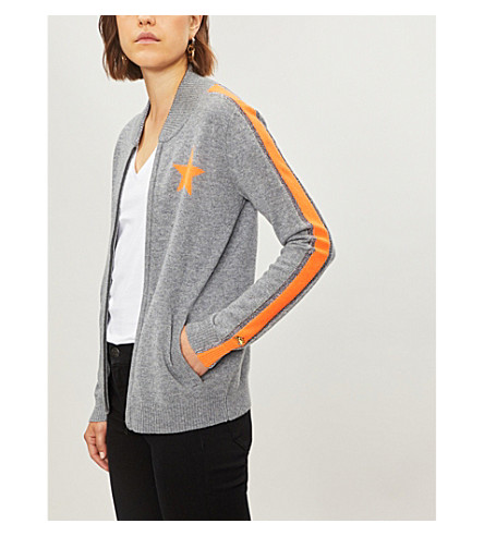 BELLA FREUD Billie cashmere zip-up jacket (Grey+marl+fluro+orange