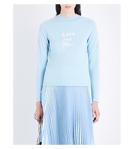 BELLA FREUD Love For You cashmere jumper (Pale+blue