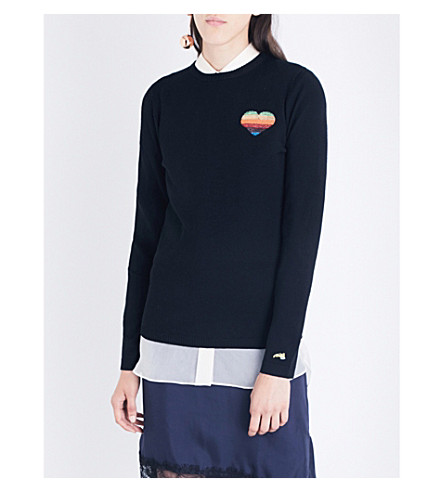 BELLA FREUD Disco Heart merino wool sweater (Black