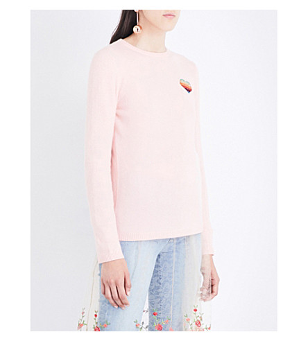 BELLA FREUD Disco Heart cashmere sweater (Ballet+pink