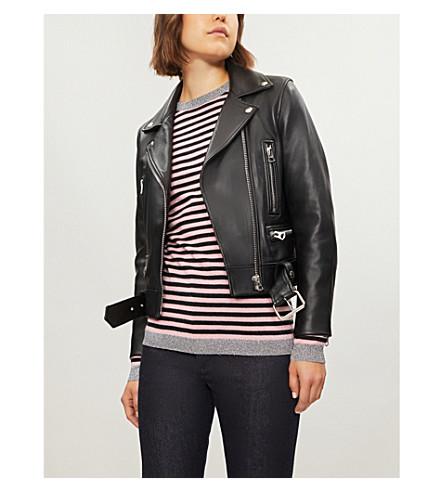 贝拉 FREUD 卢勒克斯镶边条纹羊毛羊绒毛衣 (黑色 + 糖果 + 粉红色