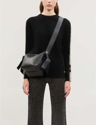 Britt Futuristic metallic side-stripe wool-blend jumper