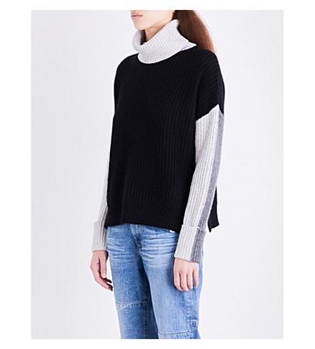 360 CASHMERE Dree turtleneck cashmere jumper (Black/mid+hthr+grey/mist