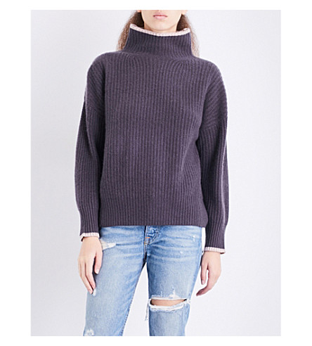 360 CASHMERE Sasha turtleneck cashmere jumper (Cement/rose+quartz