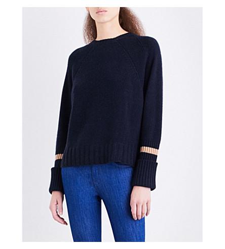 360 CASHMERE Mara cashmere jumper (Midnight/pecan+stripe