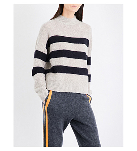 360 CASHMERE Christean striped cashmere jumper (Hazel/black+stripe