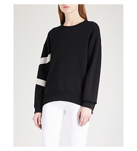 360 CASHMERE Janis cotton-blend jumper (Black/heather+grey