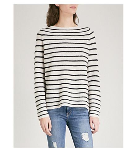 360 CASHMERE Faye cashmere jumper (Chalk/black+stripes