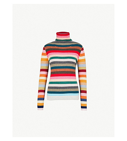 ALLUDE Rainbow striped wool-blend turtleneck jumper (909