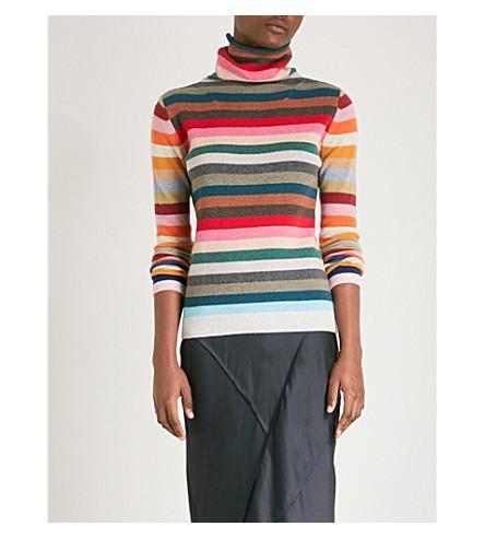 ALLUDE Rainbow striped wool-blend turtleneck jumper (909