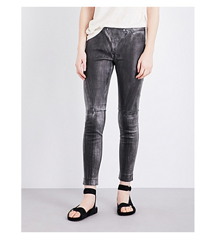 DRIFTER Valkyrie skinny leather  trousers (Metallic+black
