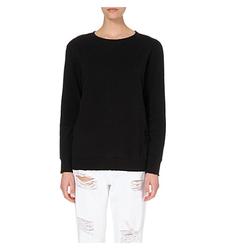 DRIFTER Impression cotton-jersey sweatshirt (Black