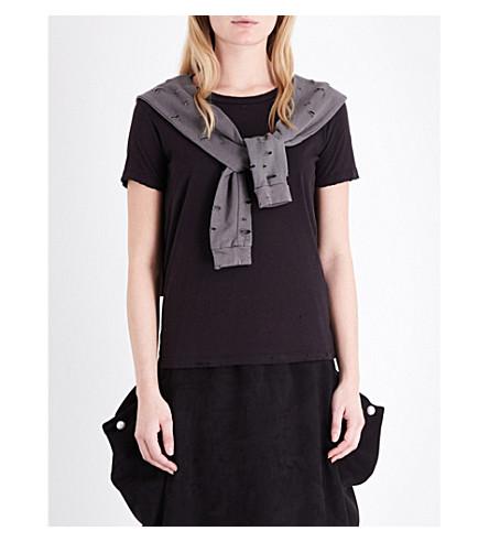 DRIFTER Aram tie-detail cotton-jersey t-shirt (Black/olive