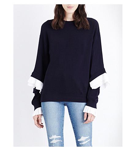 CLU Frilled cotton-jersey sweatshirt (Navy/white