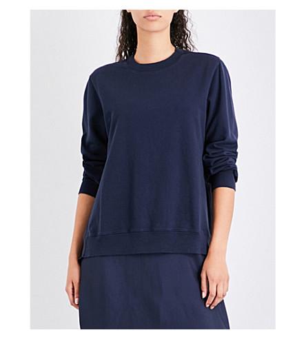 CLU Ruched-panel cotton-jersey and silk-satin sweatshirt (Navy