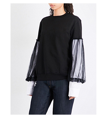 CLU Contrast-sleeve cotton sweatshirt (Black