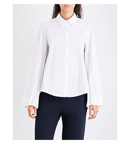 CLU Pleated-back cotton-poplin and satin shirt (White