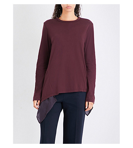 CLU Flared-hem cotton-jersey top (Bordeaux