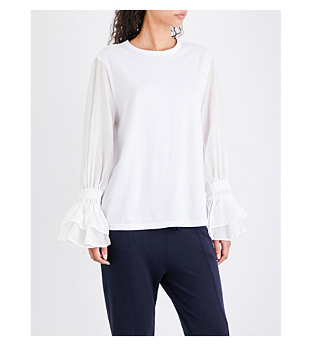 CLU Ruffled cotton-jersey and silk and cotton-blend top (White