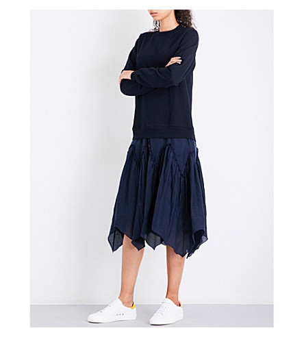 CLU Contrast-skirt cotton and silk dress (Navy