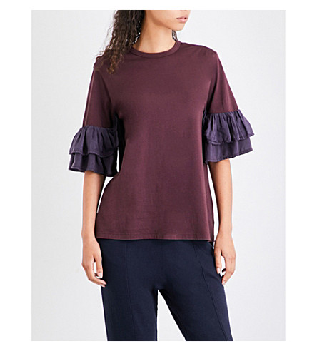 CLU Ruffled-sleeve cotton-jersey T-shirt (Bordeaux