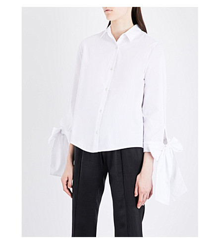 CLU Bow-sleeve cotton-poplin shirt (White