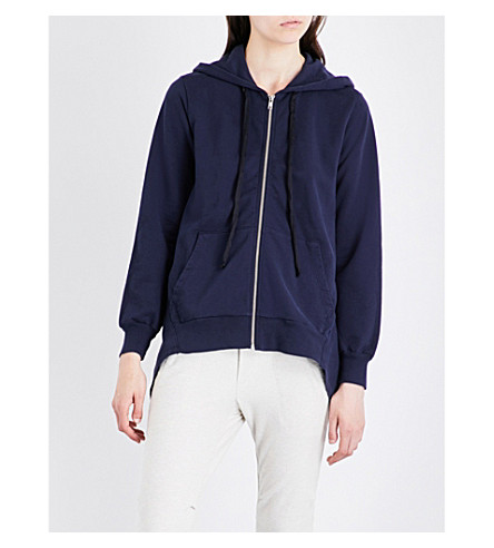 CLU Asymmetric cotton-jersey hoody (Navy