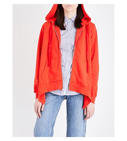 CLU Asymmetric cotton-jersey hoody (Red