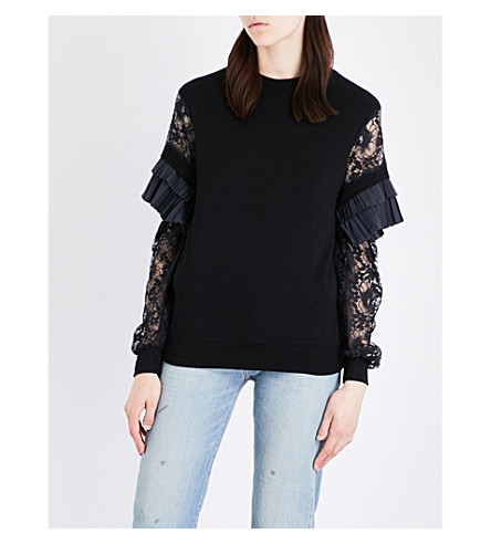 CLU Frilled-detail jersey and lace top (Black