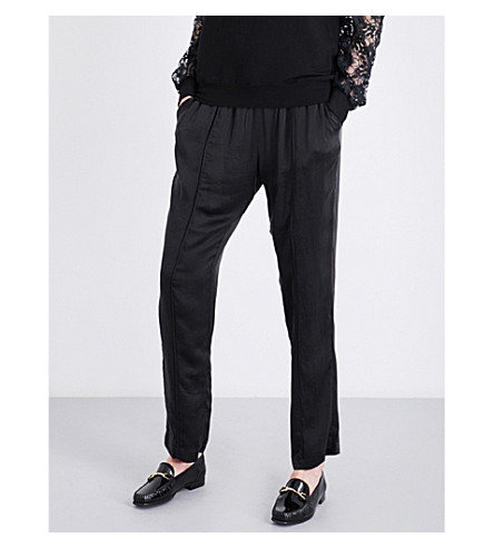 CLU Drawstring-waist relaxed-fit mid-rise silk trousers (Black