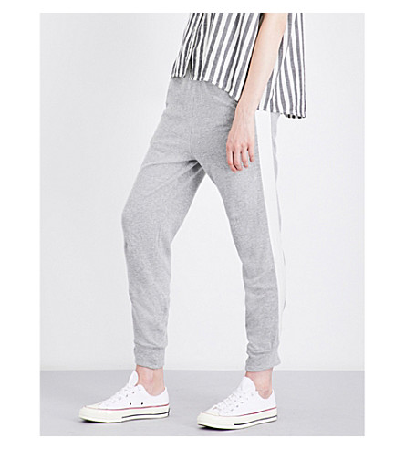 CLU Striped-detail skinny cotton and silk track pants (Grey