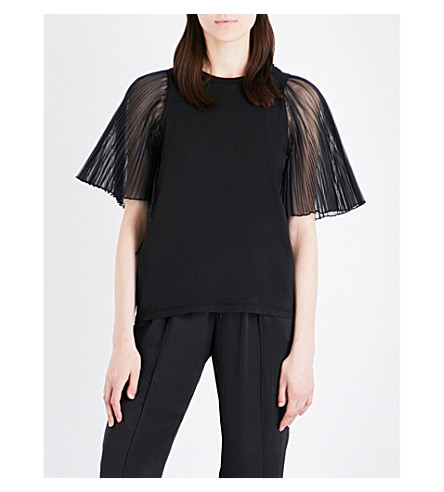 CLU Pleated-sleeve chiffon and cotton-jersey top (Black