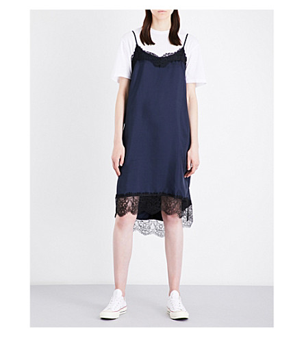 CLU Lace-trimmed satin slip dress (Navy/black