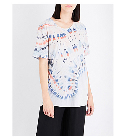 RAQUEL ALLEGRA Tie-dye cotton-blend T-shirt (Tie+dye/whred