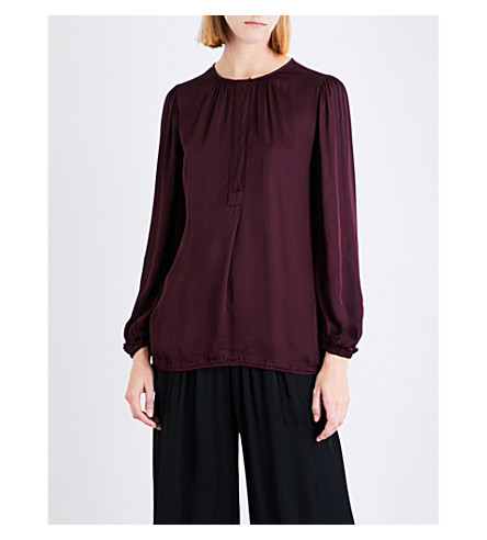 RAQUEL ALLEGRA Ruched satin blouse (Plum