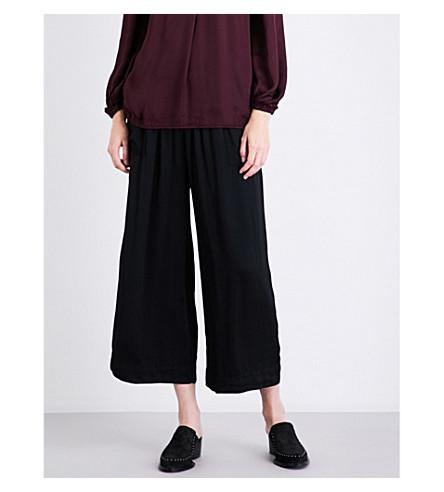RAQUEL ALLEGRA Wide-leg satin trousers (Black