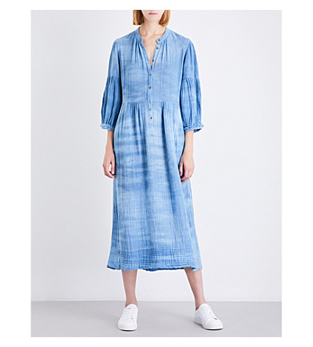 RAQUEL ALLEGRA Tie-dye cotton midi dress (Denim+tie+dye