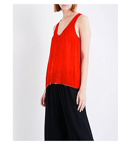 RAQUEL ALLEGRA Frayed sleeveless velour top (Persimmon