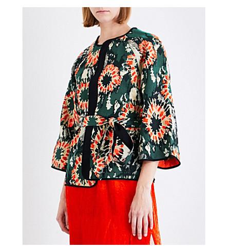 RAQUEL ALLEGRA Cropped woven kimono jacket (Neon+army